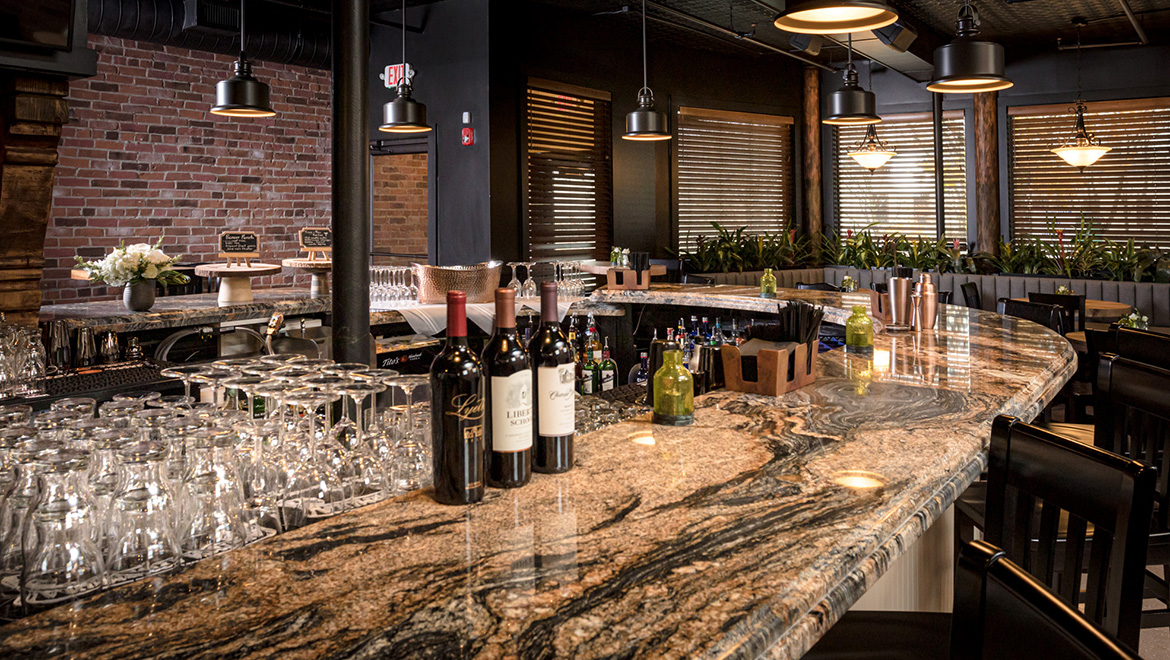 Brady's Curved Granite Bar