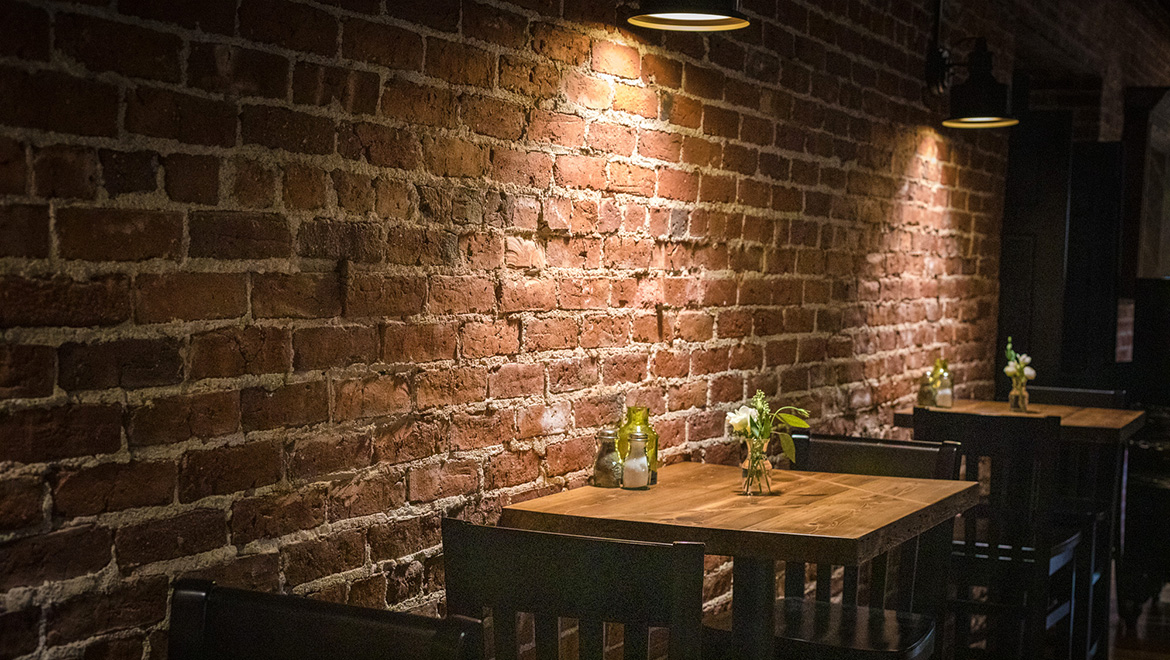 Original Brick Wall in Brady's Dining Room